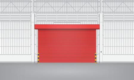 shutter door: Illustration of shutter door inside factory, red color.