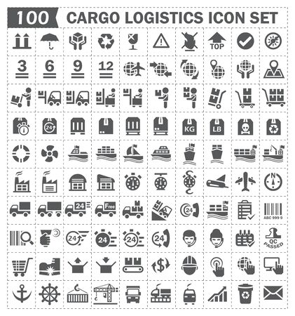 100 cargo logistics icon set.