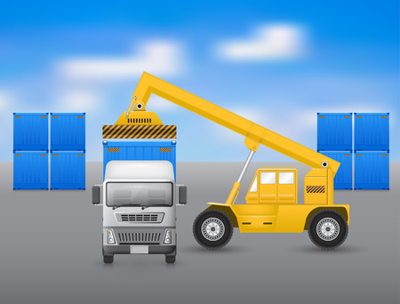 Forklift working with truck, blue sky background.