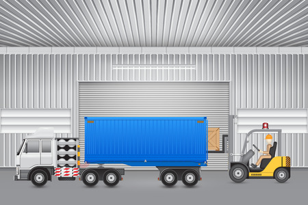 wood crate: Forklift transfer wood crate into truck with factory background. Illustration