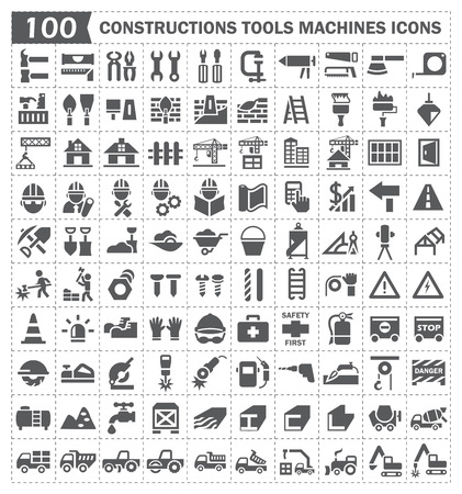 100 icon, constructions tools and machines. Stock Illustratie