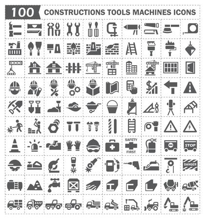 arquitecto: 100 icono, Construcciones herramientas y máquinas.