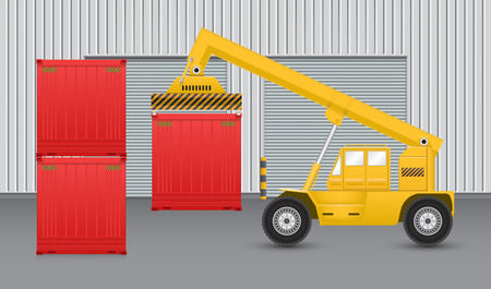work crate: Forklift working with cargo container with factory background.