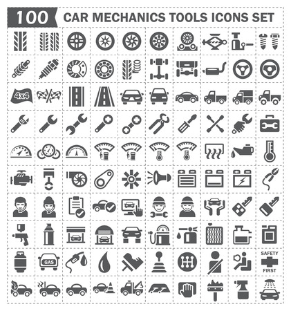 auto shop: 100 icons of car mechanics tools and accessories.