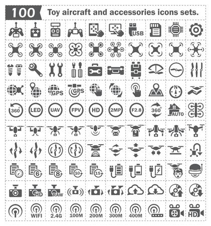 Avion jouet et des accessoires ensembles d'icônes. Vecteurs