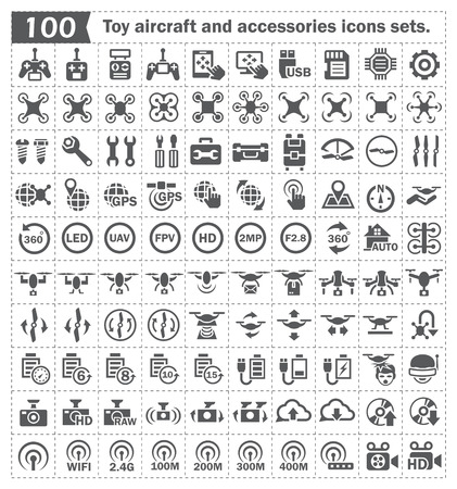 Toy aircraft and accessories icons sets. Vector