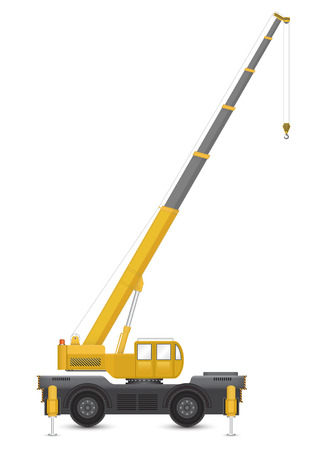 mobile crane: Illustration of mobile crane isolated on white background.