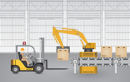 robots: Robot working with conveyor belt and forklift inside factory. Illustration