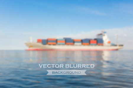 clear sky: Vector blurred of cargo ship in sea with clear sky background.