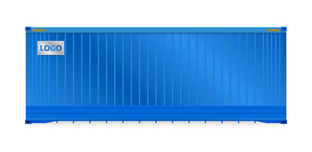 high detail: Illustration of cargo container isolated on white background.