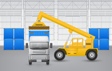 Forklift working with cargo container and truck with factory background. Vector