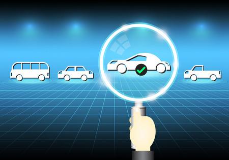 qc: Illustration of car model and magnifier on dark background. Illustration
