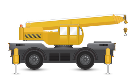 crane: Illustration of mobile crane isolated on white background.