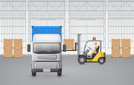 carretillas almacen: Carretilla elevadora que trabaja con carga de contenedor y cami�n con el fondo de la f�brica.