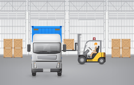 forklift: Forklift working with cargo container and truck with factory background. Illustration