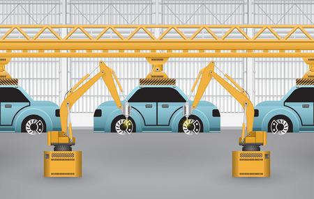 robot: Los robots est�n trabajando con piezas de autom�viles en la f�brica.