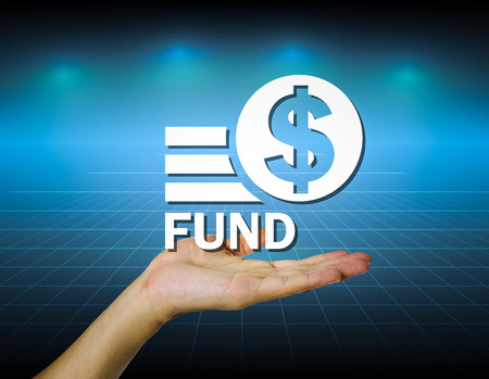 mutual funds: Hand and marking fund with dark blue background.