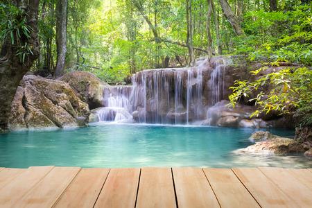 waterfall river: Erawan waterfall 5th level in Kanjanaburi province, Thailand.