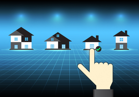 Vector of home and selection concept on dark background.