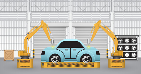 car factory: Robots are working with auto parts in factory.