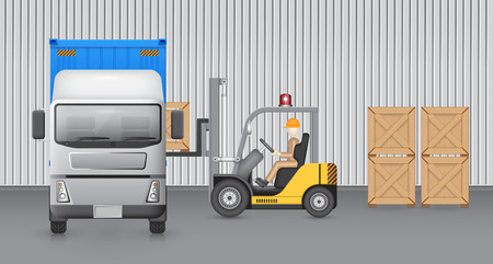 warehouse storage: Forklift transfer wood crate into truck with factory background. Illustration