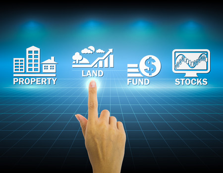 financial diversification: Hand and investment sign with dark background.