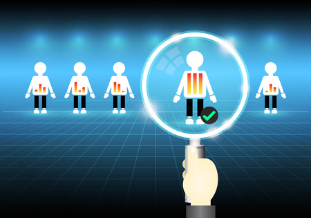 Illustration of model people and magnifier on dark background. 일러스트