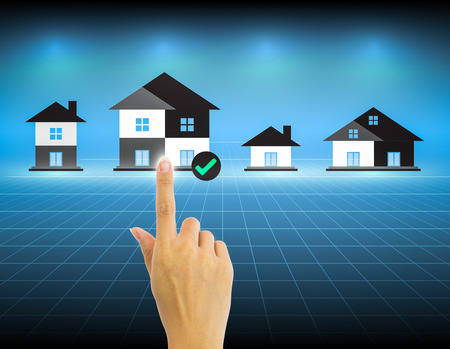 real estate agency: Hand and investment sign with dark background.