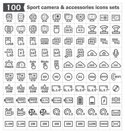 fullhd: 100 sport camera and accessory icons sets. Illustration