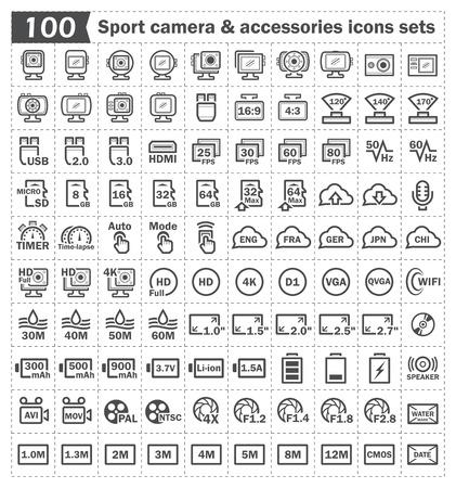accessoire: 100 sport camera en accessoire pictogrammen sets. Stock Illustratie