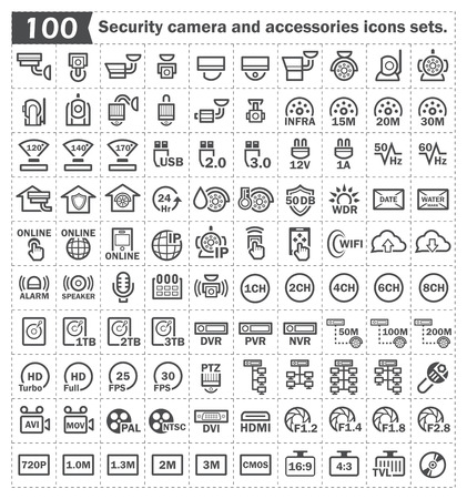 100 security camera and accessories icons sets. Illustration