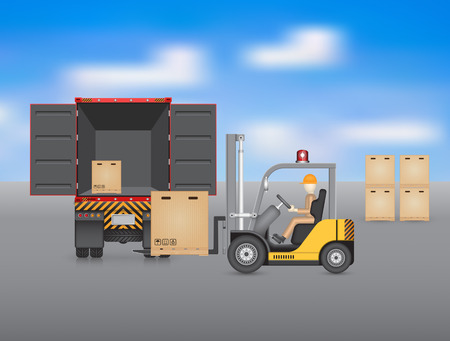 forklift truck: Forklift working with truck, blue sky background.