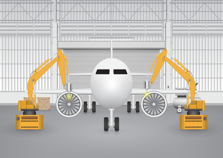hangar: Robot working with plane in factory.