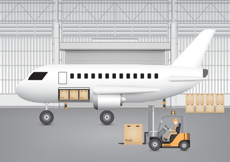 goods station: Forklift transfer carton into plane with factory background. Illustration