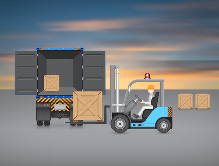 Forklift transfer wood crate into truck with sky background.
