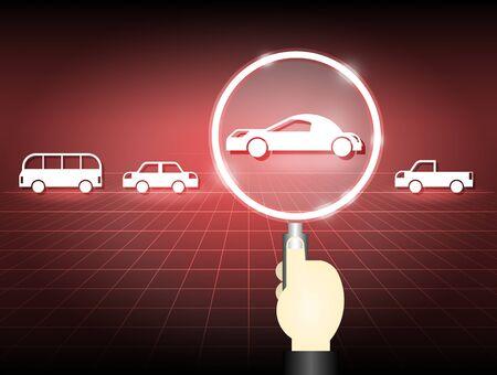 Illustration of car model and magnifier on dark background.