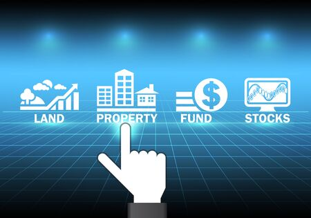 shares: Hand and investment sign with dark background.