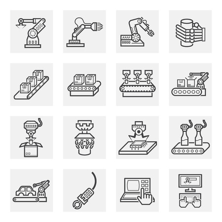 Robot y cinta transportadora iconos conjuntos. Vectores