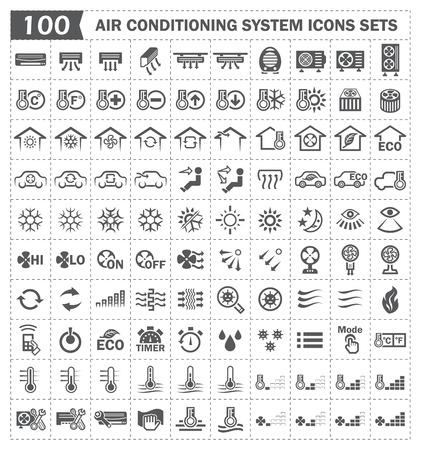 (100) 에어컨 아이콘 세트. 일러스트