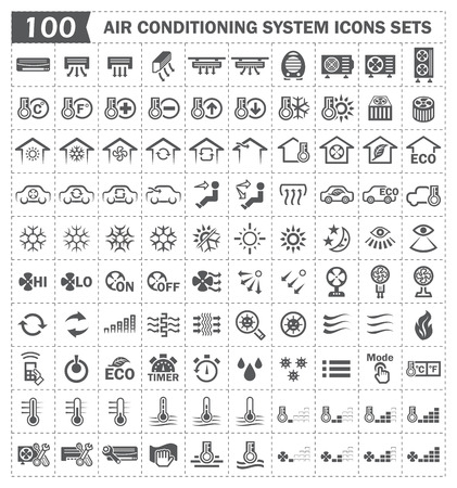 100 air conditioning icons sets. 向量圖像
