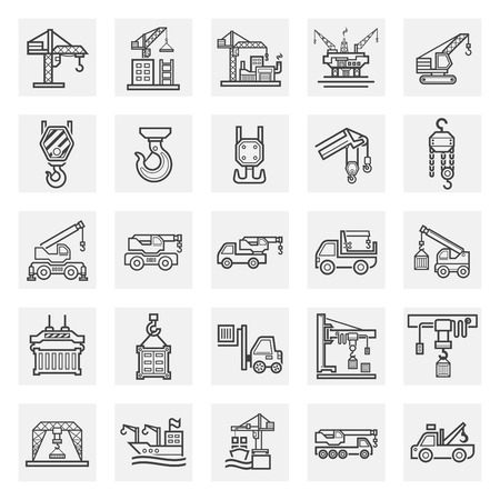 hoist: Crane icons sets. Illustration