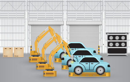 auto parts: Robots are working with auto parts in factory.