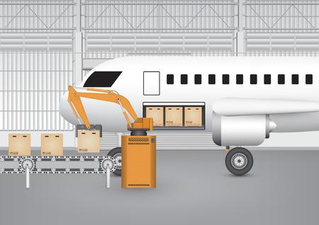 fliesband: Robot die Arbeit mit F�rderband und Flugzeug innerhalb der Fabrik.