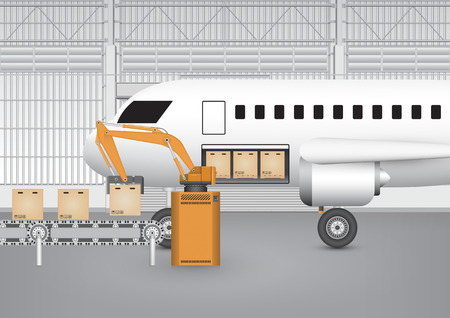 goods station: Robot working with conveyor belt and plane inside factory. Illustration