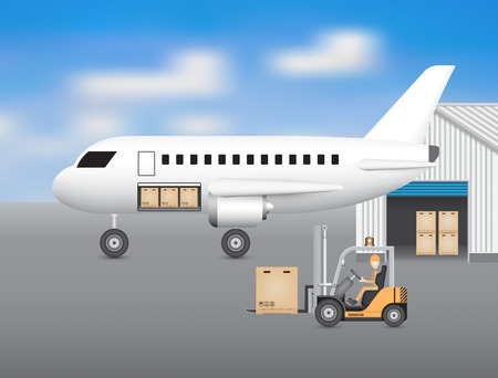 Forklift transfer carton into plane with blue sky background. Ilustracja