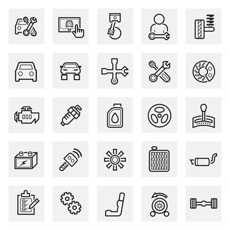 mecanico: Autos y accesorios iconos. Vectores
