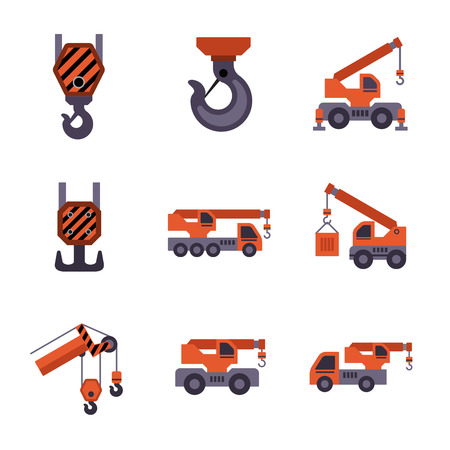 construction equipment: Mobile crane isolated on white background.