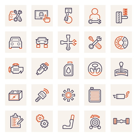 motor car: Car and accessories icons. Illustration