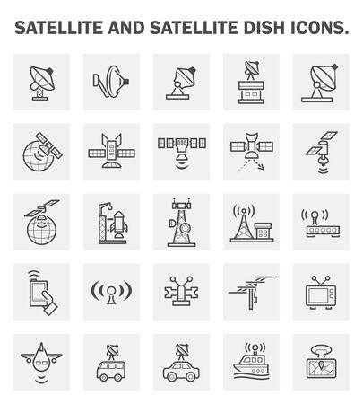 radio wave: Satellite and satellite dish icons.