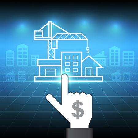 rental property: Hand touch property with blue background. Illustration